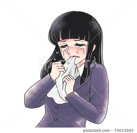 復古女孩卡通風格,咬手帕和遺憾,哭泣OL 74033905