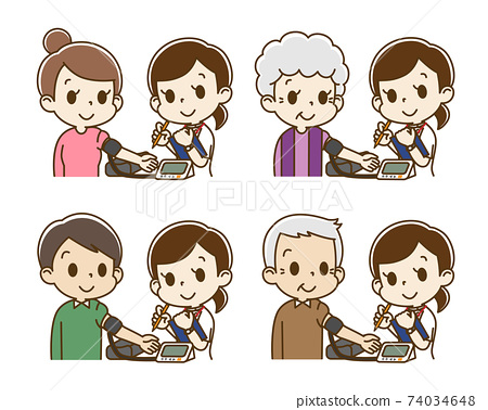 一組使用電子血壓計進行血壓測量的人(女護士) 74034648