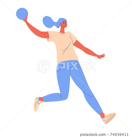 Young woman running with ball during dodgeball game isolated on white. Vector character happy and active 74036411