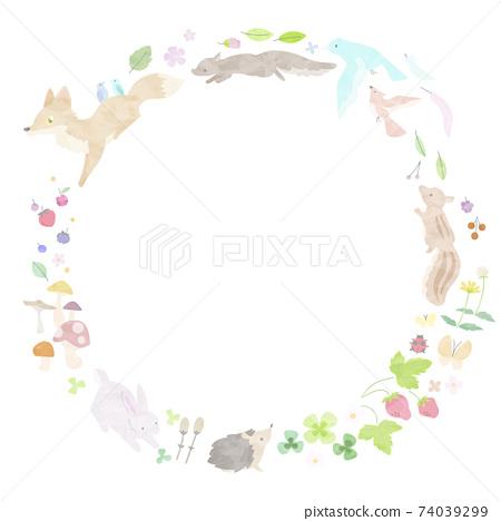 水彩風格春天動物框架 74039299