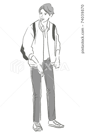 Fashion line art for young men 74039870