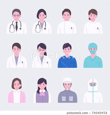 簡單的臉圖標集為醫療專業人員 74040458