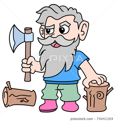 old woodcutter carrying ax chopping wood, doodle icon image kawaii 74041269