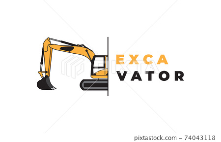 excavator orange construction modern logo symbol icon vector graphic design illustration 74043118