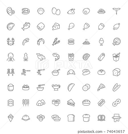 Food icon outline style flat design. 64 Icons. 74043657