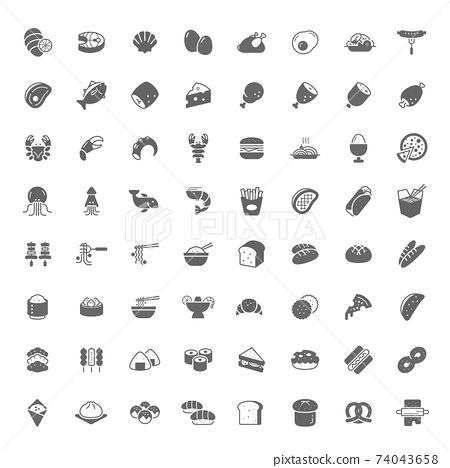 Food icon filled style flat design. 64 Icons. 74043658