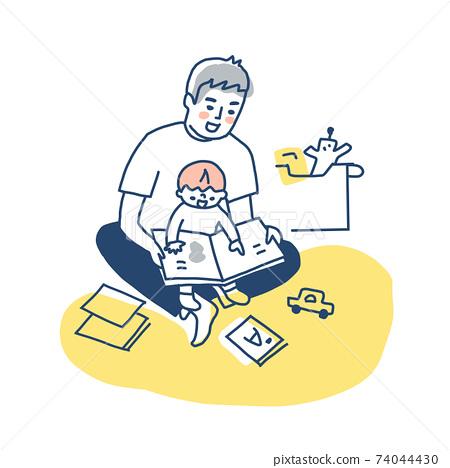 父親和男孩在他們的膝蓋上擁抱時讀一本圖畫書 74044430