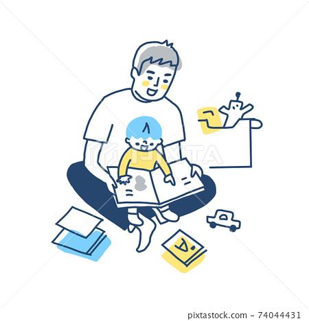 무릎에 안고하면서 그림책을 읽는 아버지와 아들 74044431
