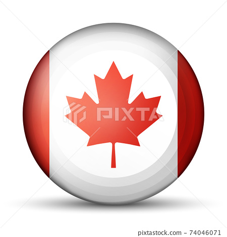 Glass light ball with flag of Canada. Round sphere, template icon. Canadian national symbol. Glossy realistic ball, 3D abstract vector illustration highlighted on a white background. Big bubble. 74046071