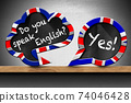 Do You Speak English and Yes - Two Speech Bubbles on Wooden Shelf 74046428