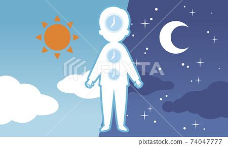 白天和黑夜的背景和身體時鐘 74047777