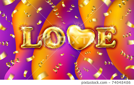 gold Love Valentines heart. Decorative heart colored background with lot of valentines hearts fly on gold ribbons with confetti. Vector illustration. 74048486