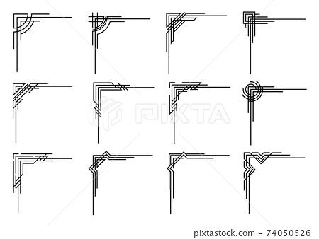 Art deco corners collection. Vector geometric borders set. Orante wedding invintation element. Vintage border elements 74050526