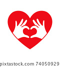 Hands in the form of heart thin line red icon on white background. 74050929