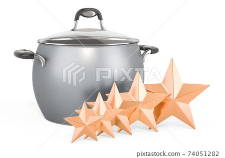 Customer rating of steel stock pot. 3D rendering 74051282