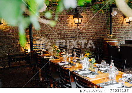 a table in an old restaurant at a wedding 74052187