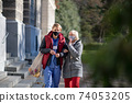 Senior woman and caregiver outdoors in town, shopping and coronavirus concept. 74053205