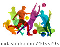 Soccer players silhouettes with ball 74055295
