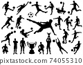 Silhouettes soccer player with ball and trophy cup 74055310