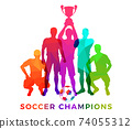 Silhouettes of soccer players with trophy cup 74055312