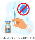 Covid-19 coronavirus vaccine and syringe injection 74055318