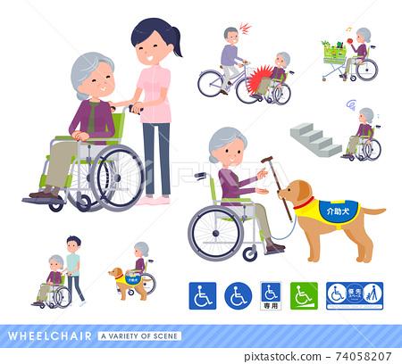 flat type Purple clothes grandma_wheelchair-scene 74058207
