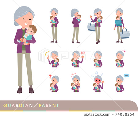flat type Purple clothes grandma_guardian 74058254