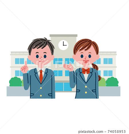 學校(學校建築)和學生的插圖素材 74058953