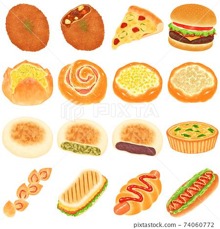 各種烹飪麵包插圖的摘要 74060772