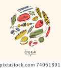 Doodle food illustration in the round. Fish, meat, vegetables and other different things. 74061891