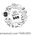 BBQ round illustration. Let's have a B-B-Q. 74061893