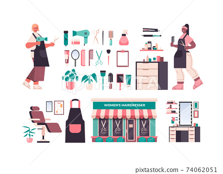 set hairdressers tools and accessories icons collection with professional workers in uniform beauty salon concept 74062051