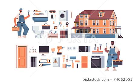 set mix race professional repairmen in uniform making house renovation home maintenance repair service concept 74062053