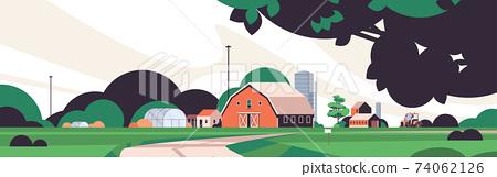 farm building house organic eco farming agriculture concept rural farmland countryside landscape 74062126