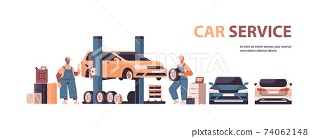 mix race mechanics working and fixing vehicle car service automobile repair and check up concept 74062148