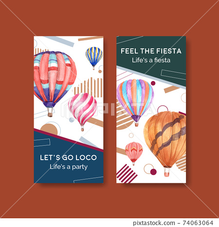 Flyer template with balloon fiesta concept design for brochure and leaflet watercolor vector illustration 74063064
