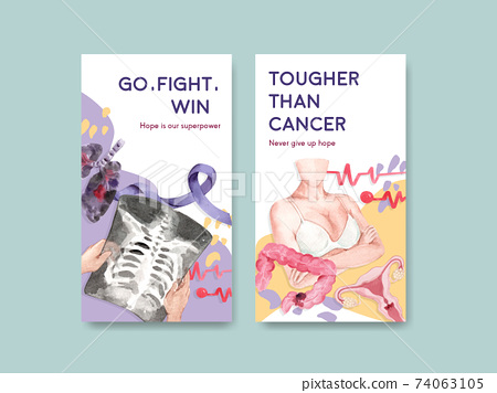 Instagram template with world cancer day concept design for social media and digital marketing watercolor vector illustration. 74063105