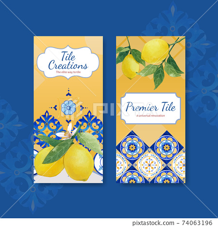 Flyer template with Italian tile concept design for brochure and leaflet watercolor vector illustration 74063196