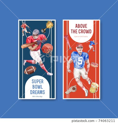 Flyer template with super bowl sport concept design for brochure and leaflet watercolor vector illustration. 74063211