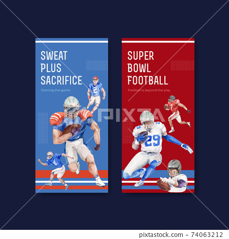 Flyer template with super bowl sport concept design for brochure and leaflet watercolor vector illustration. 74063212
