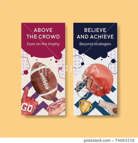 Flyer template with super bowl sport concept design for brochure and leaflet watercolor vector illustration. 74063216