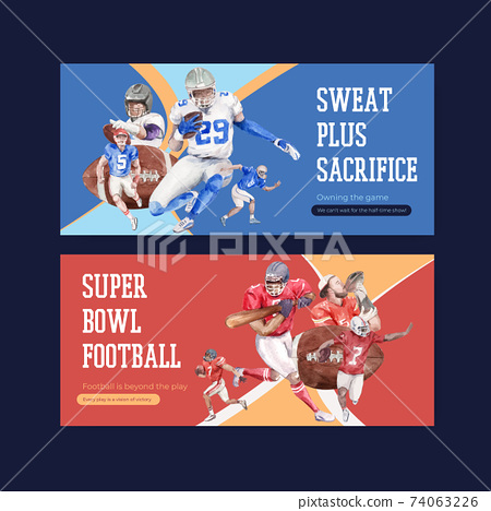 Billboard template with super bowl sport concept design for advertise and marketing watercolor vector illustration. 74063226
