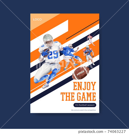 Poster template with super bowl sport concept design for brochure and advertise watercolor vector illustration. 74063227