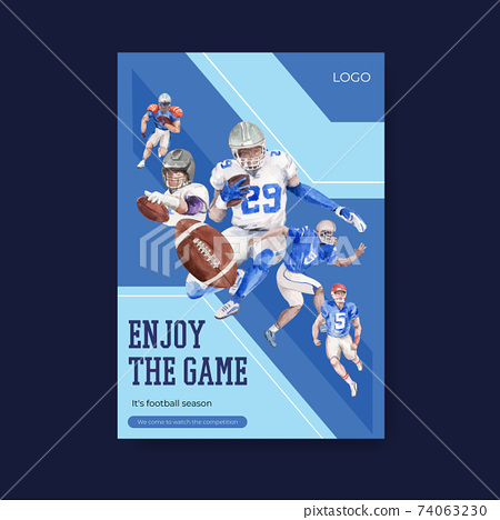 Poster template with super bowl sport concept design for brochure and advertise watercolor vector illustration. 74063230
