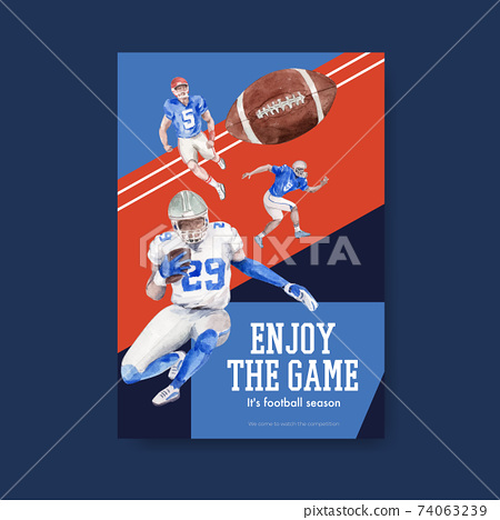 Poster template with super bowl sport concept design for brochure and advertise watercolor vector illustration. 74063239