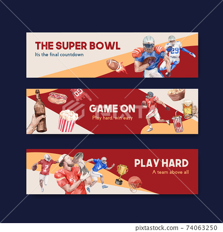 Banner template with super bowl sport concept design for advertise and marketing watercolor vector illustration. 74063250
