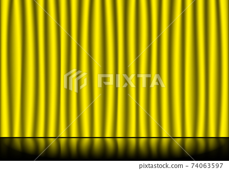 Yellow stage curtains and reflective stage floor 74063597