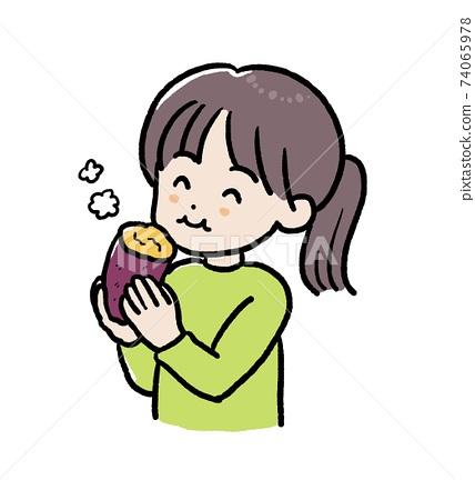 一個女孩吃烤的紅薯的插圖 74065978