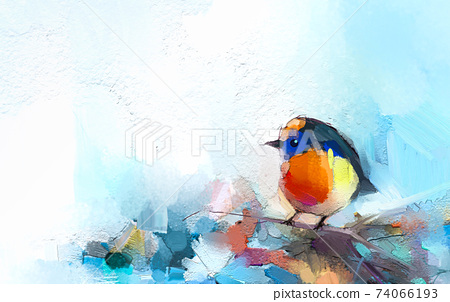 Abstract colorful oil, acrylic painting of bird and spring flower. Modern art paintings brush stroke on canvas. Illustration oil painting, animal and floral for background. 74066193