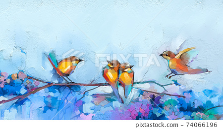 Abstract colorful oil, acrylic painting of bird and spring flower. Modern art paintings brush stroke on canvas. Illustration oil painting, animal and floral for background. 74066196